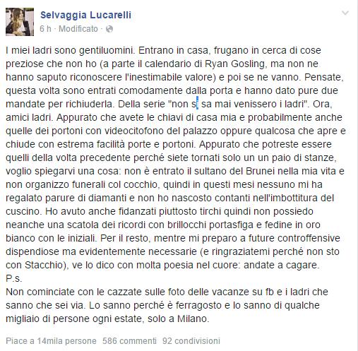 Selvaggia Lucarelli e i ladri in casa a Milano, lo sfogo su Facebook: 'Andate a ca*are'