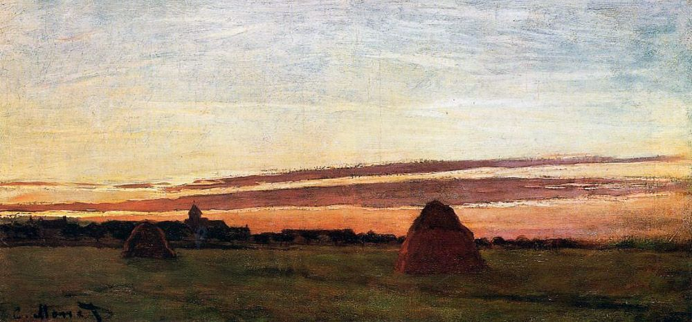 monet haystacks at chailly at sunrise