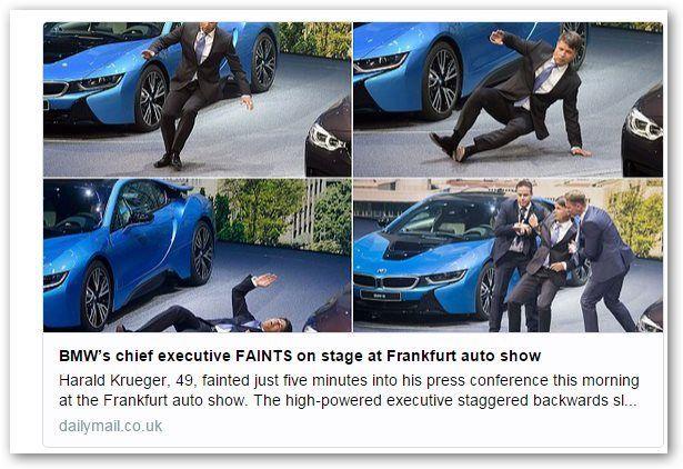 Salone Francoforte 2015: paura per un malore al CEO di BMW