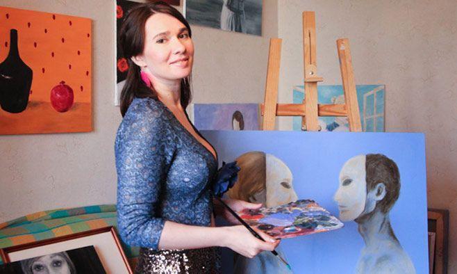 Irina pittrice col seno