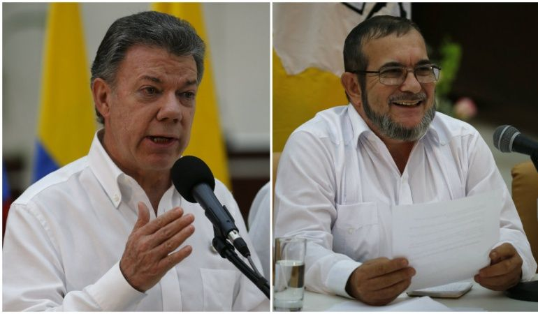 Juan Manuel Santos and Timoleón Jiménez