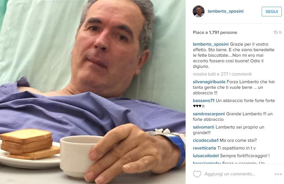 Lamberto Sposini in ospedale