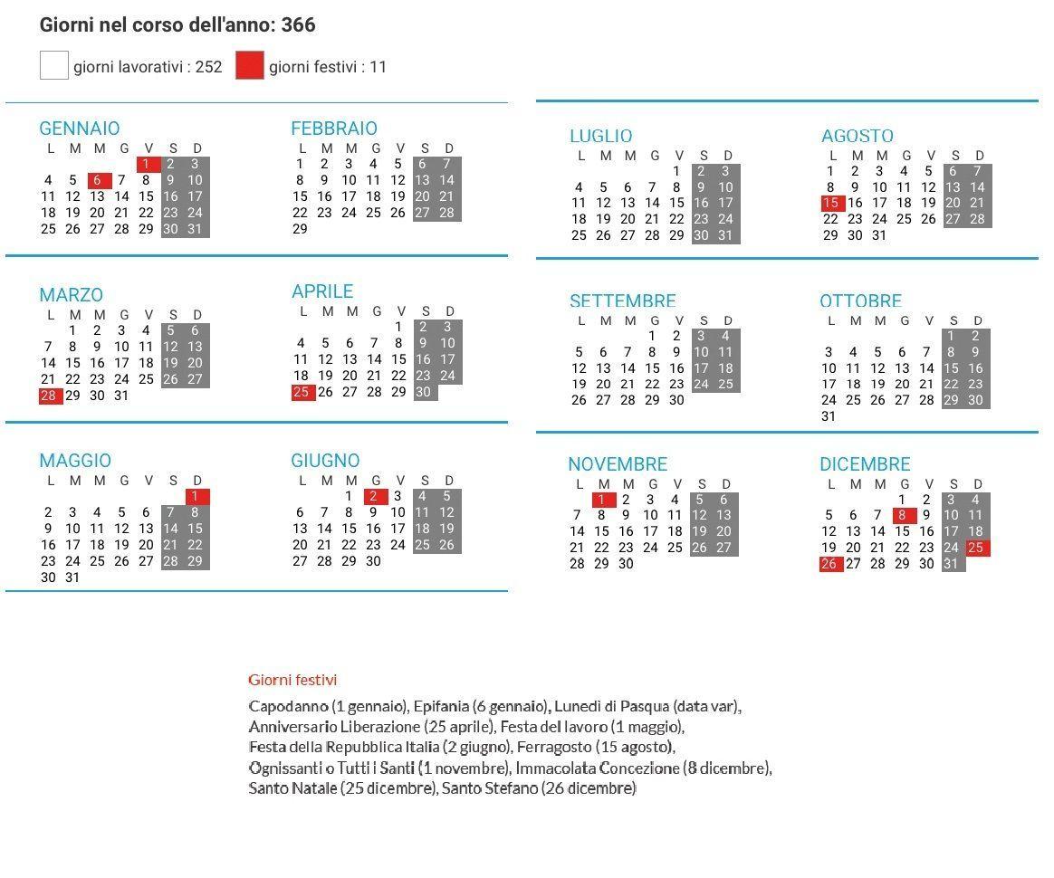 Calendario Con Giorni Festivi.Giorni Festivi 2016 In Italia Tutti I Non Lavorativi Del