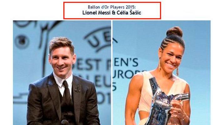 Pallone d'oro 2015 a Messi e alla Sasic? La FIFA smentisce