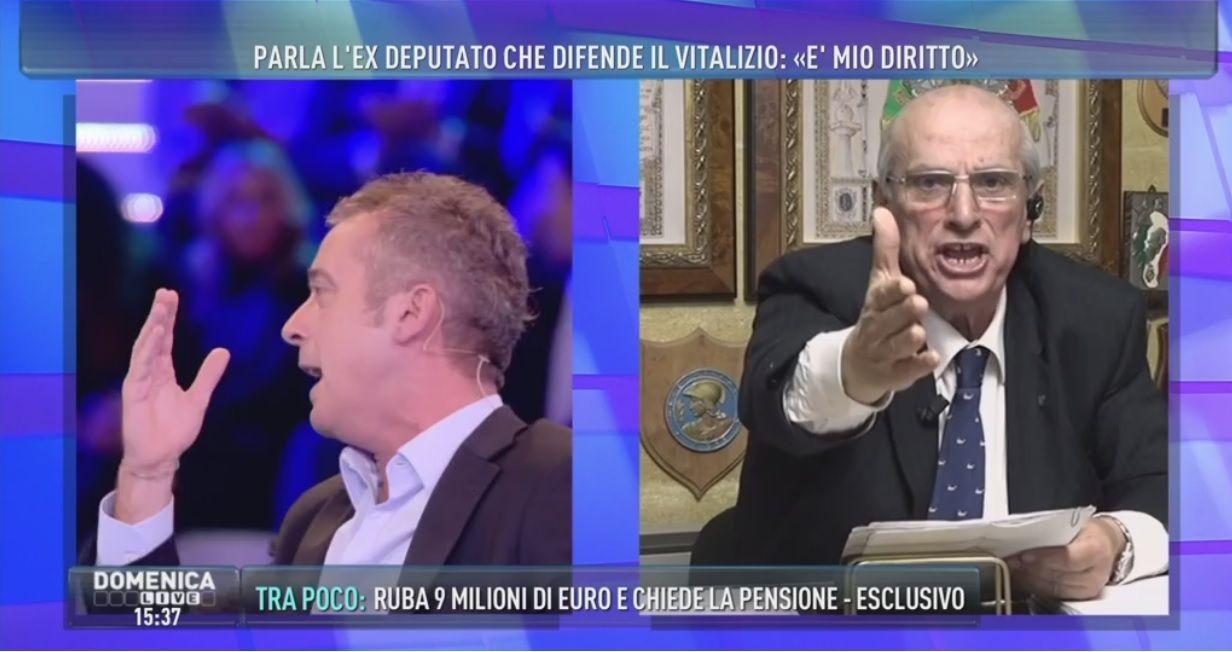 Domenica Live: Pierluigi Diaco lascia lo studio, lite col politico Giancarlo Cito
