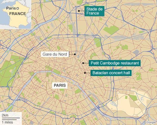 La mappa degli attacchi a Parigi
