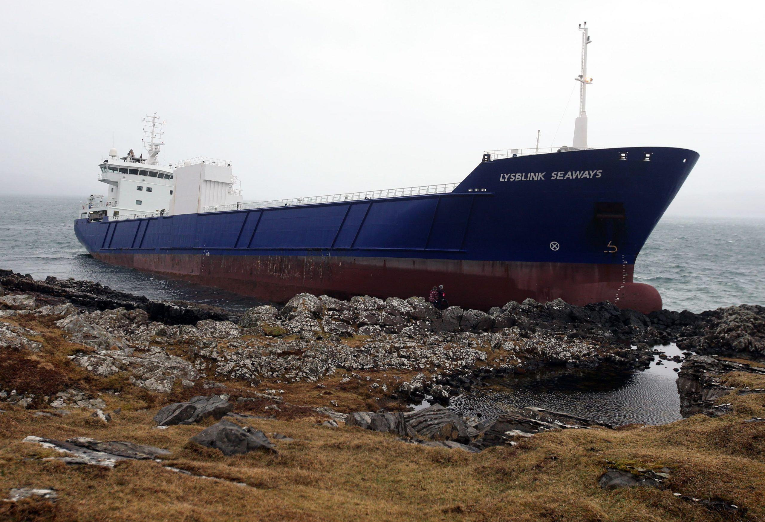 Container ship runs aground