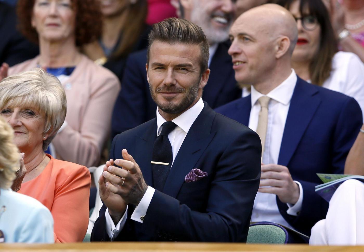 David Beckham in tribuna a Wimbledon