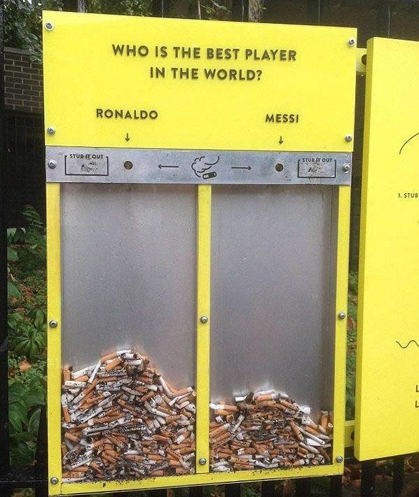 Bidone spazzatura Messi vs Ronaldo
