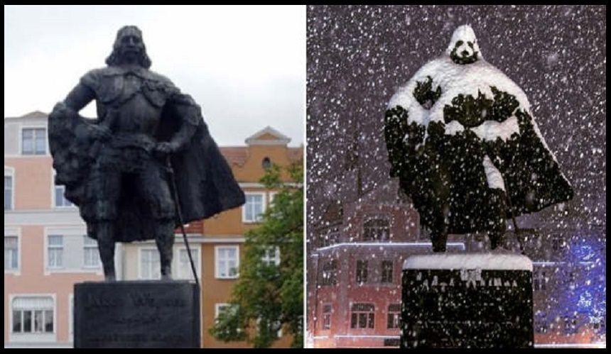 La statua che con la neve si 'trasforma' in Darth Vader