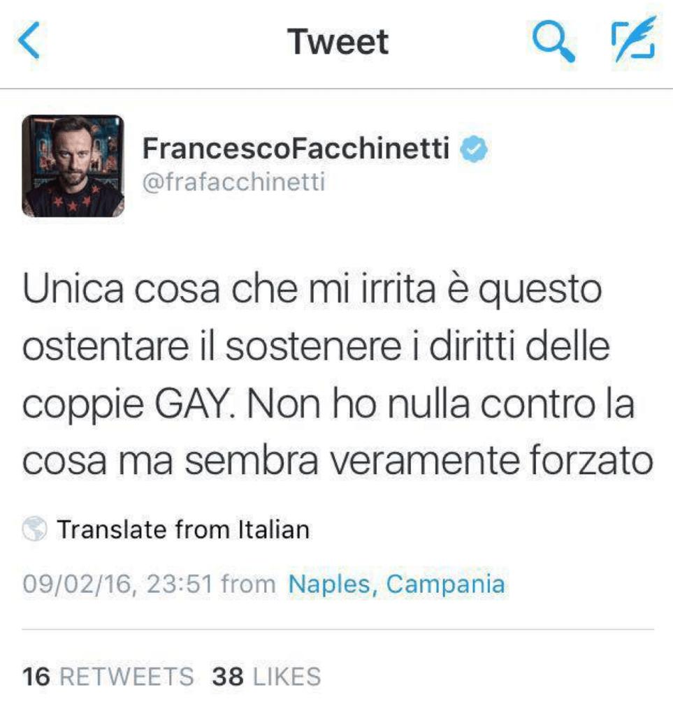 Francesco Facchinetti su Twitter: Il messaggio contro Sanremo gay-friendly non lho scritto io