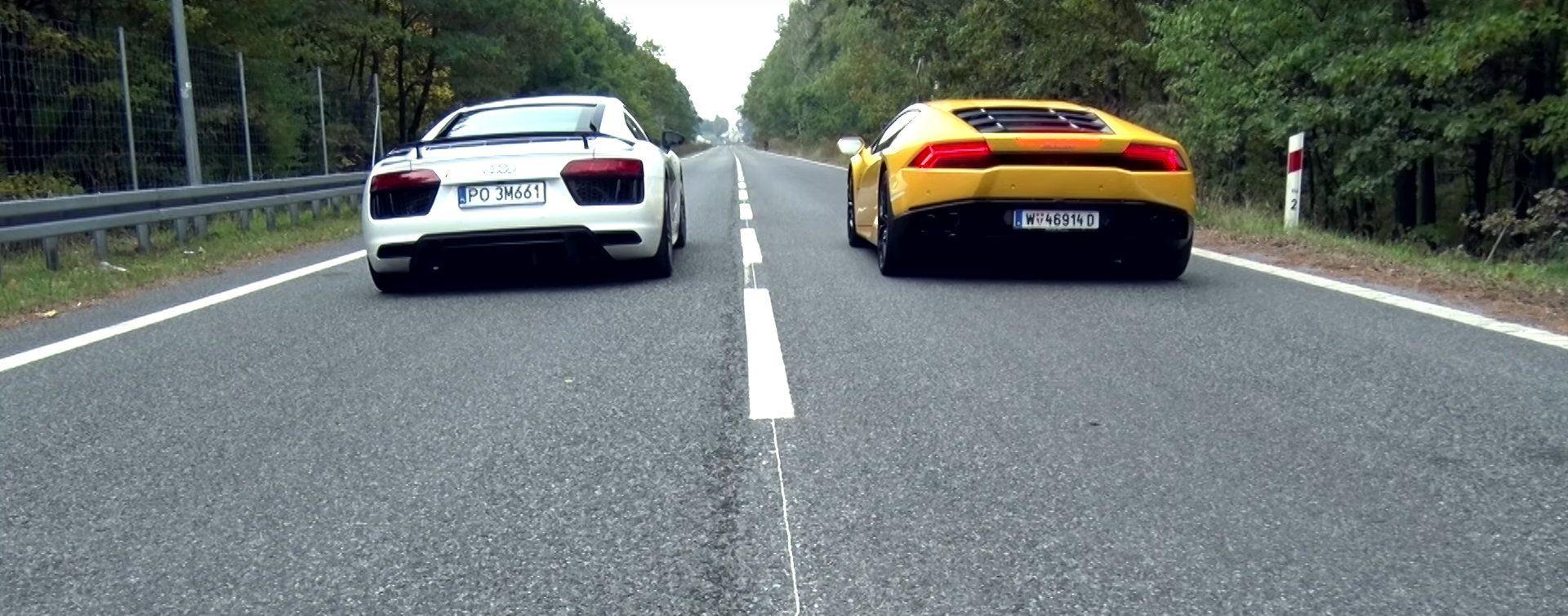 Audi R8 V10 vs Lamborghini Huracan: la sfida da 0 a 100 Km/h