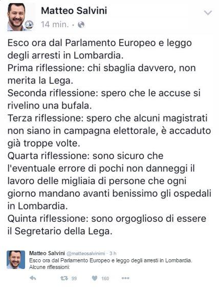 il tweet di Salvini