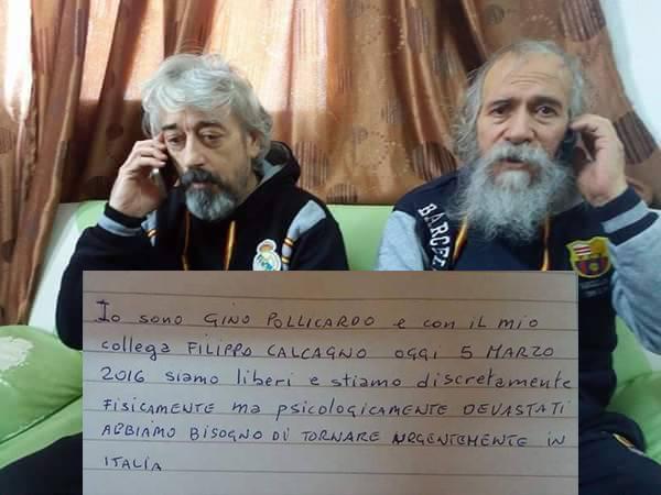 Liberati gli ostaggi Pollicardo e Calcagno in Libia