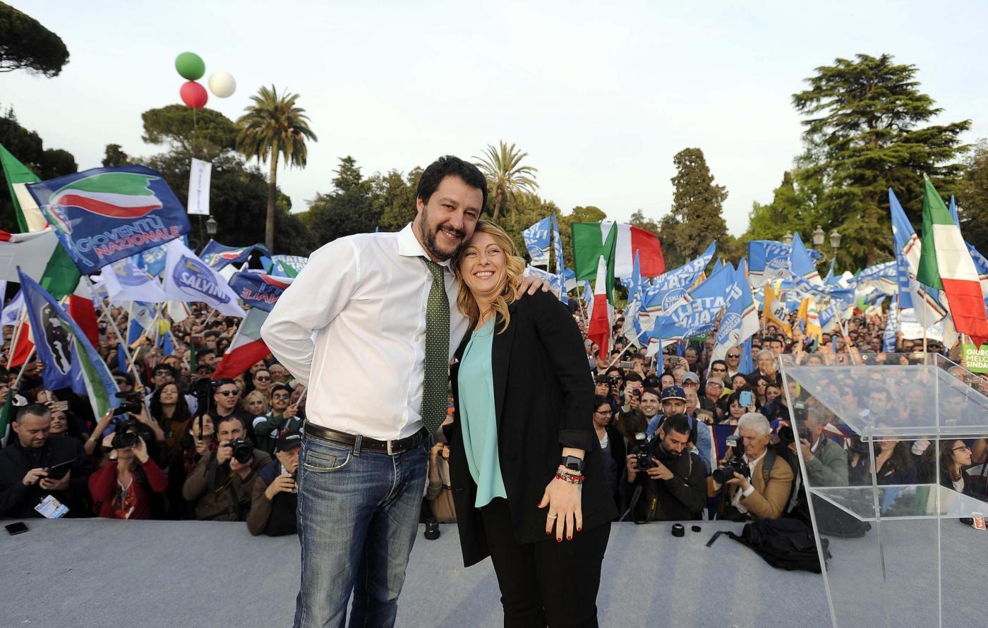 Apertura della campagna elettorale di Giorgia Meloni al Pincio