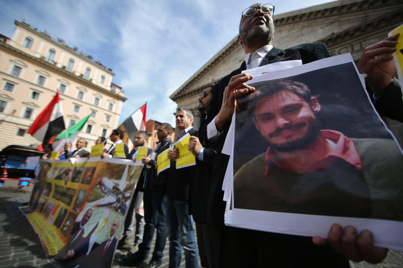 Roma, manifestazione per Giulio Regeni al Pantheon