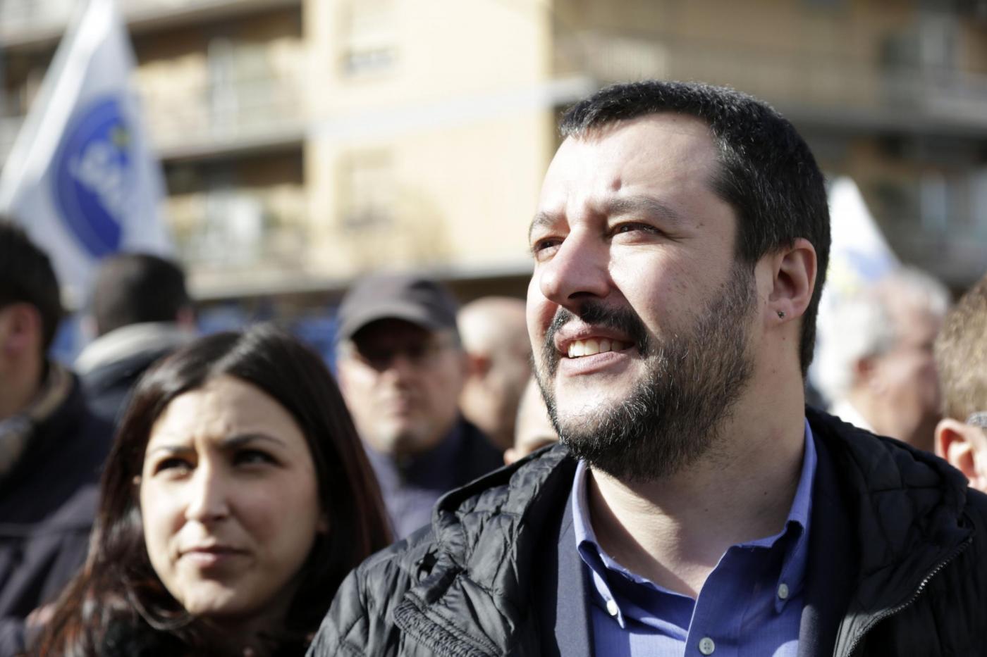 Matteo Salvini a Piazza Malatesta a Roma