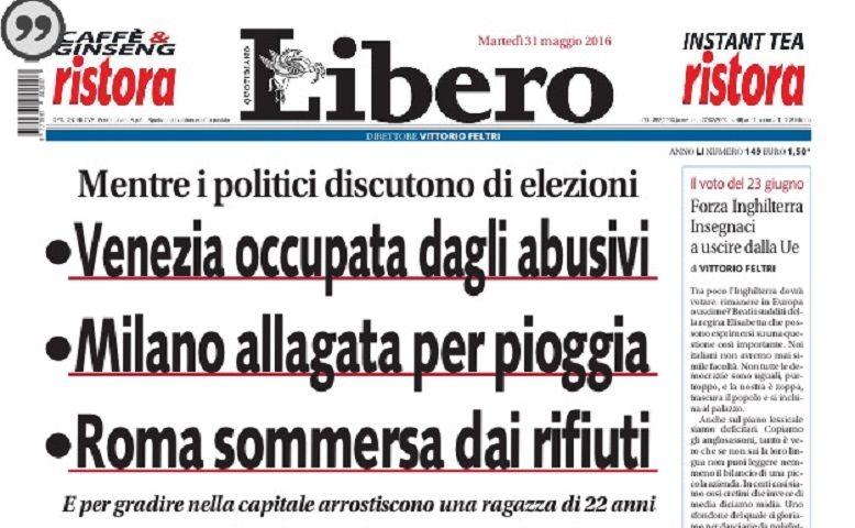 A Roma arrostiscono una ragazza: Libero e la prima pagina della vergogna