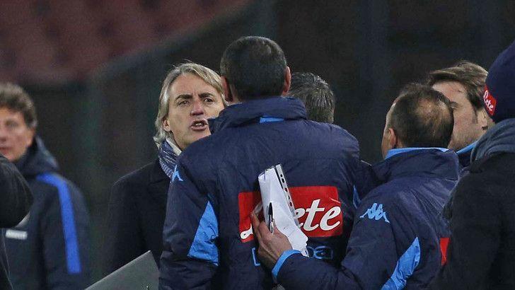 Sarri dice a Mancini sei frocio, diverbio durante Napoli-Inter di Coppa Italia 2016