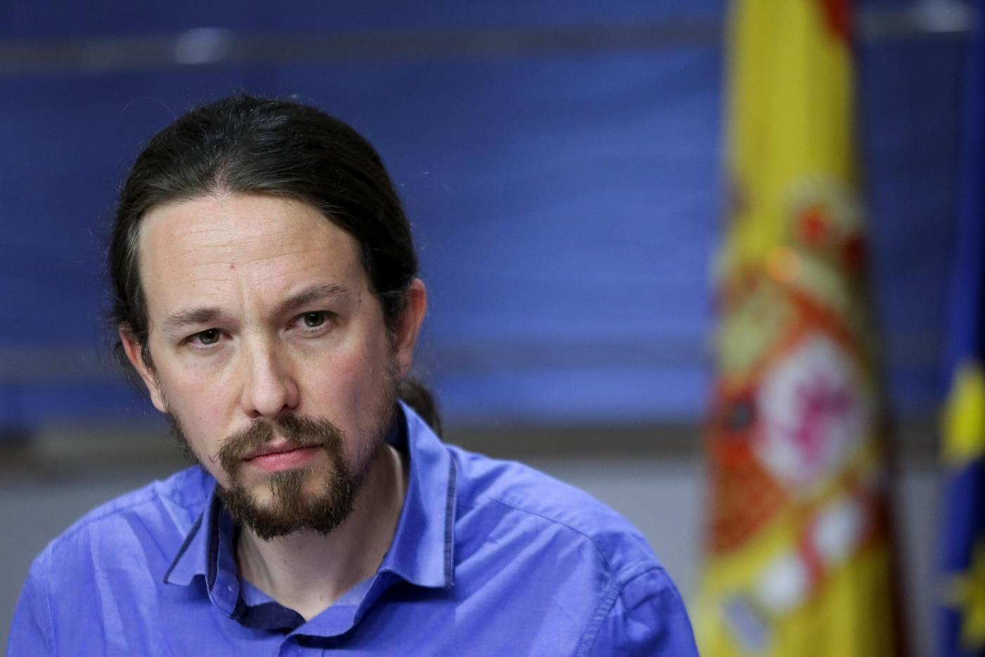 LEADER OF PODEMOS PARTY IN PRESS CONFERENCE
