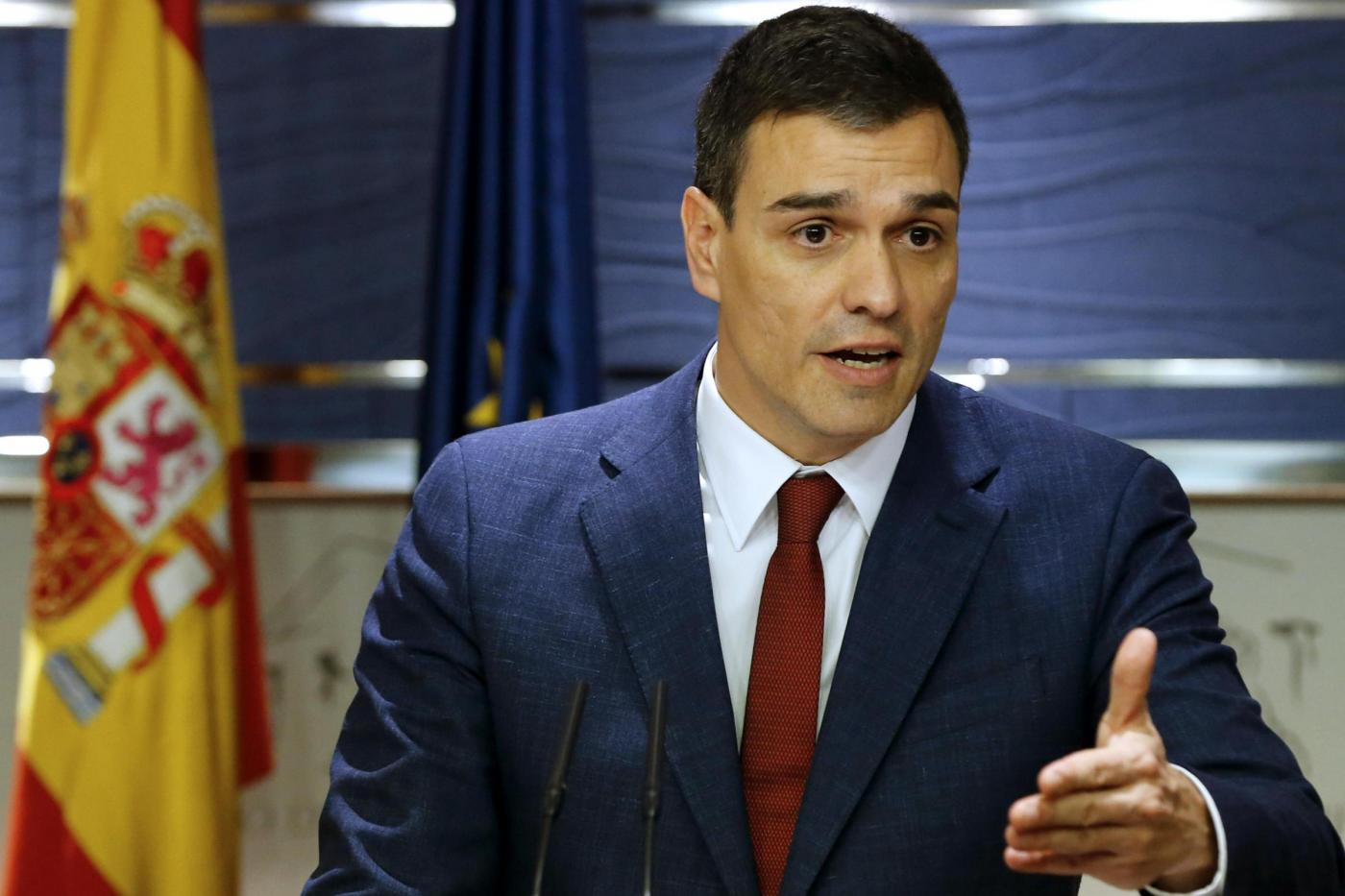 PEDRO SANCHEZ DELIVERS A PRESSER AFTER HIS MEETING WITH THE KING