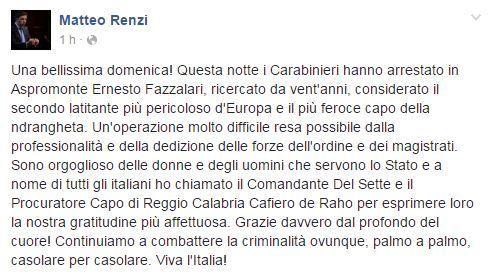 Renzi su Facebook dopo la cattura del boss