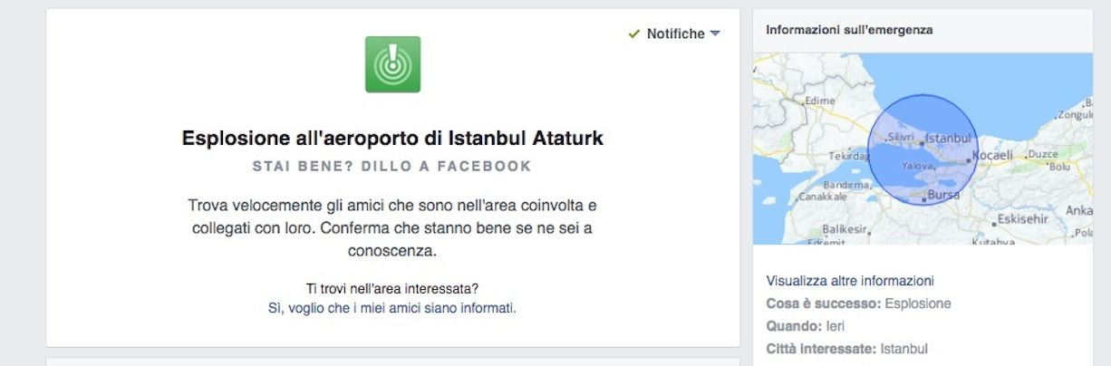 Facebook Safety Check attivato per la Turchia