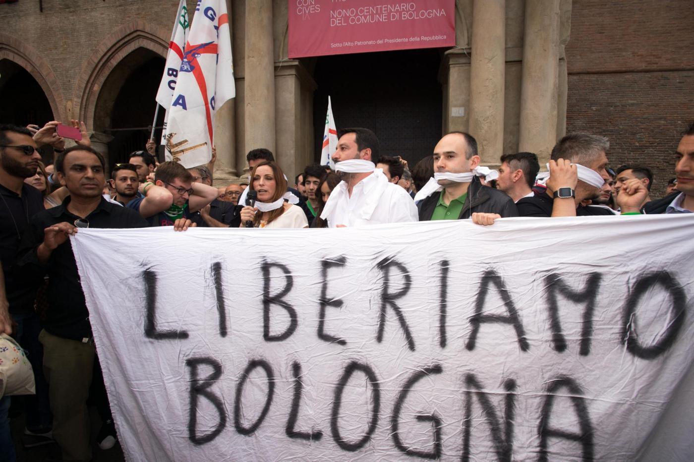 Matteo Salvini a Bologna per sostenere Lucia Borgonzoni