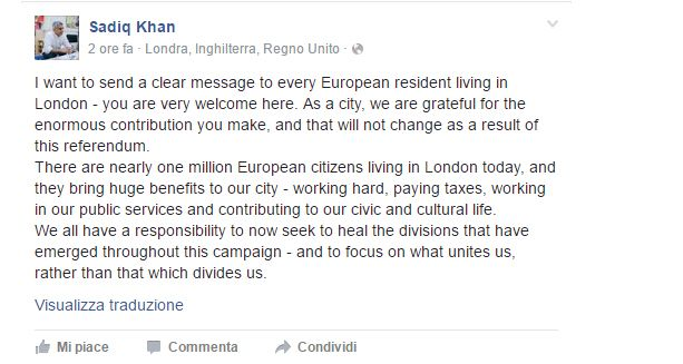Messaggio sindaco Londra