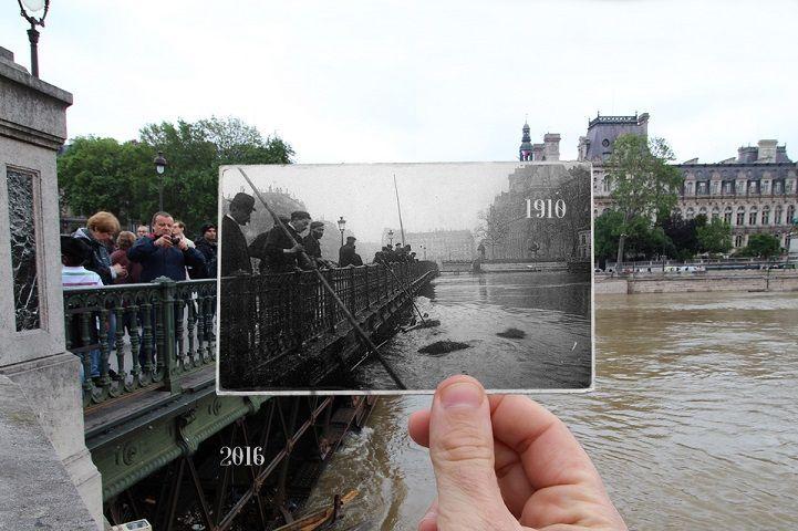 Parigi, la piena della Senna 2016 confrontata con le foto del 1910
