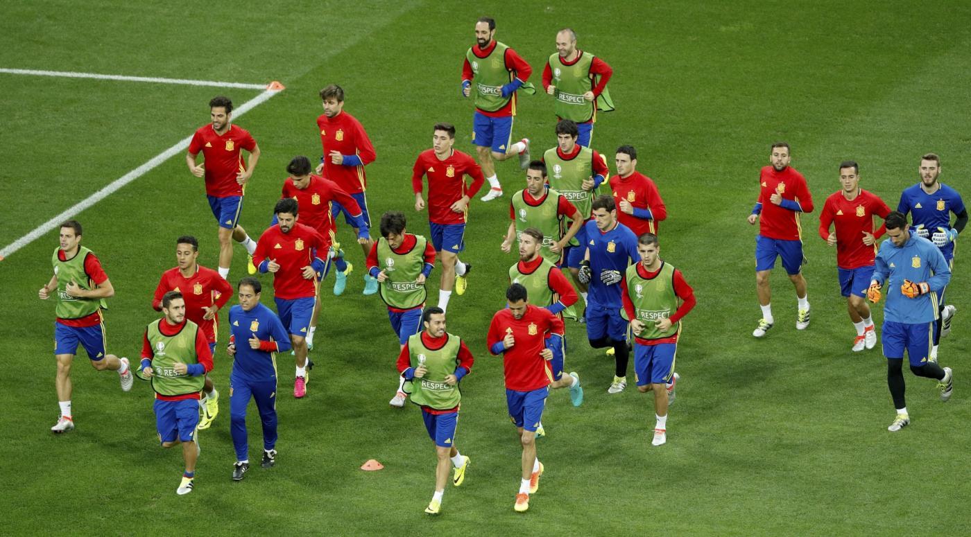 Euro 2016, allenamento della nazionale spagnola