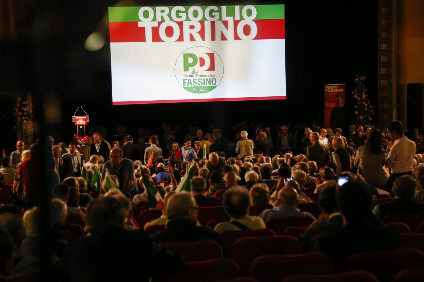 Matteo Renzi a Torino per la campagna elettorale di Piero Fassino