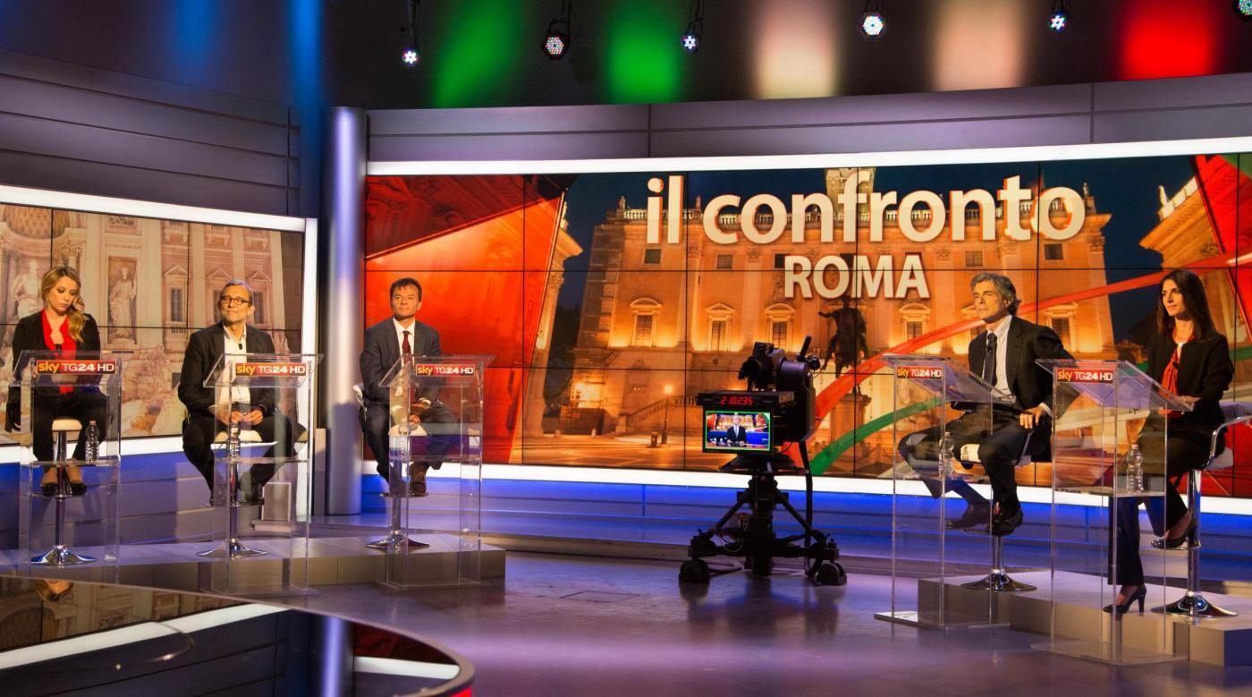 Elezioni comunali Roma 2016: Meloni-Raggi-Marchini-Fassina-Giachetti su Sky