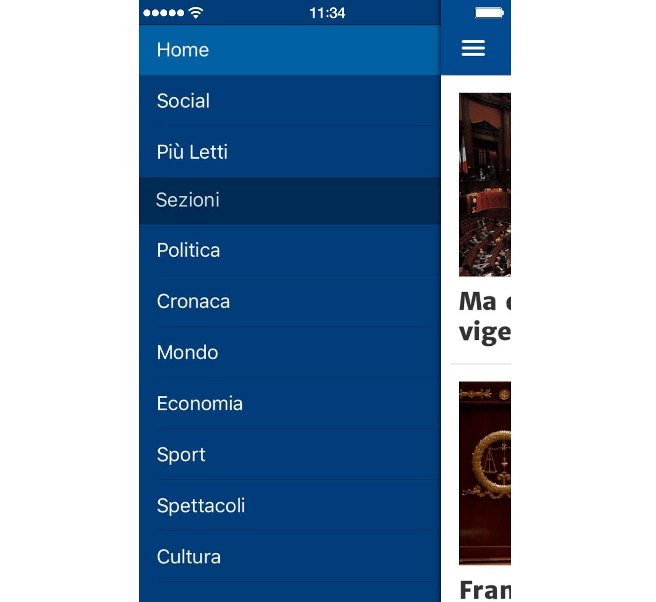App NanoPress menu