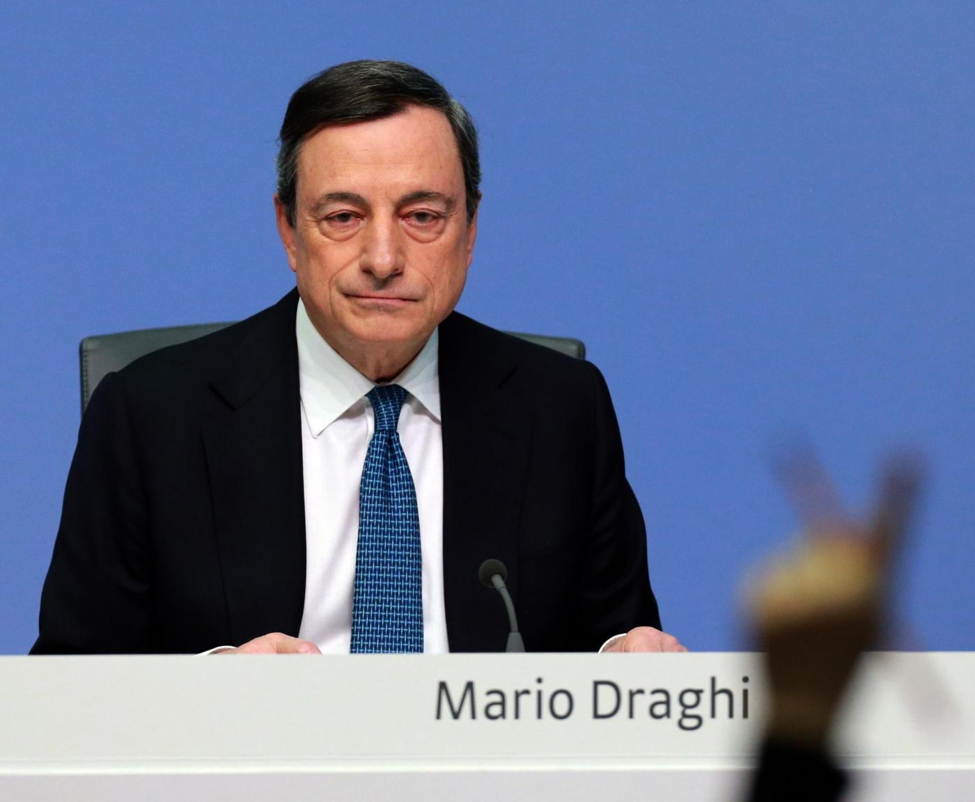 Draghi in conferenza stampa a Francoforte