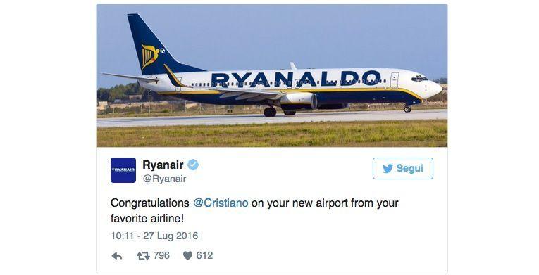 Ryanair omaggia Cristiano Ronaldo con l'aereo Ryanaldo