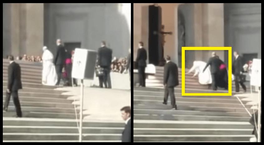 papa Francesco cade in piazza san pietro
