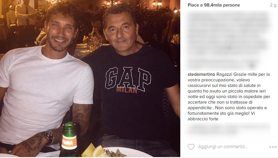 Stefano De Martino in ospedale dopo un malore: sta già meglio