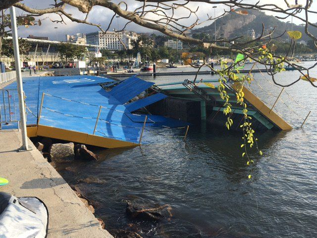 Olimpiadi 2016: il vento fa crollare il pontile di Marina da Gloria