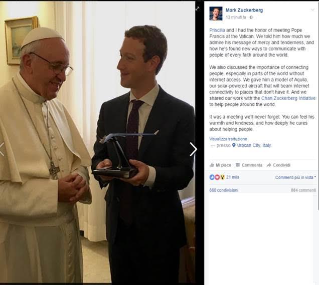 Papa e Zuckerberg