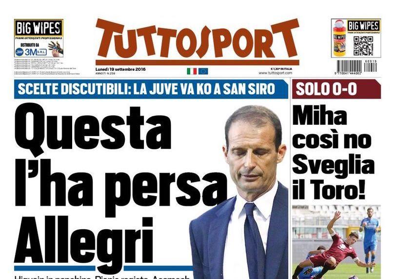 Inter-Juventus 2-1, tutti contro Allegri