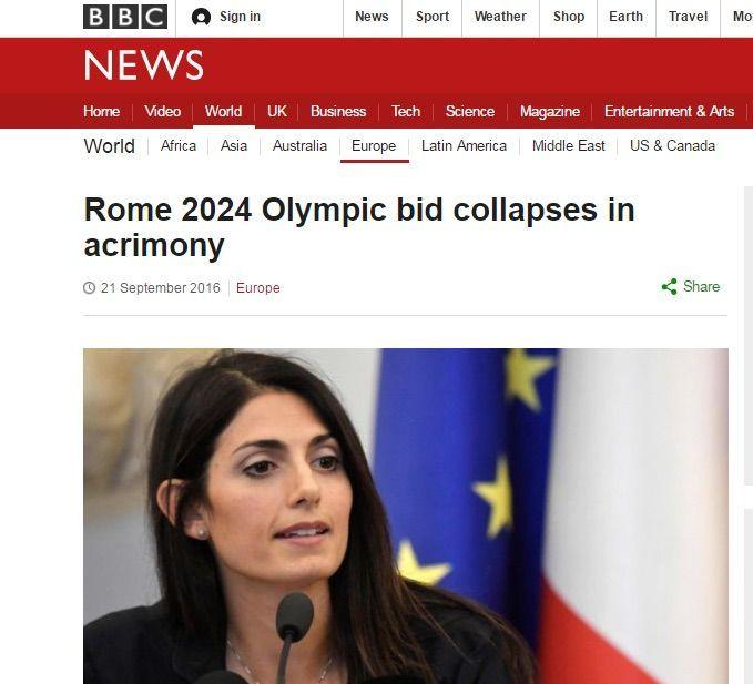 No a Roma 2024, la scelta della Raggi fa il giro del mondo