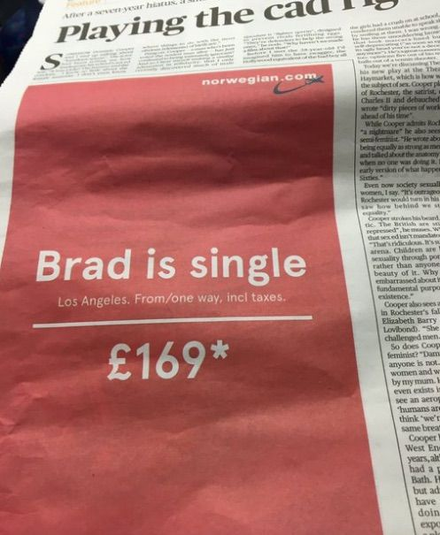 'Brad is single', la geniale campagna pubblicitaria conquista il web