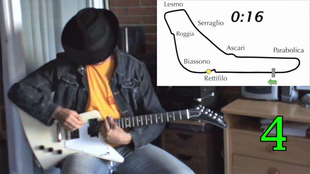 Un giro in pista a Monza sulla Formula 1 con la chitarra