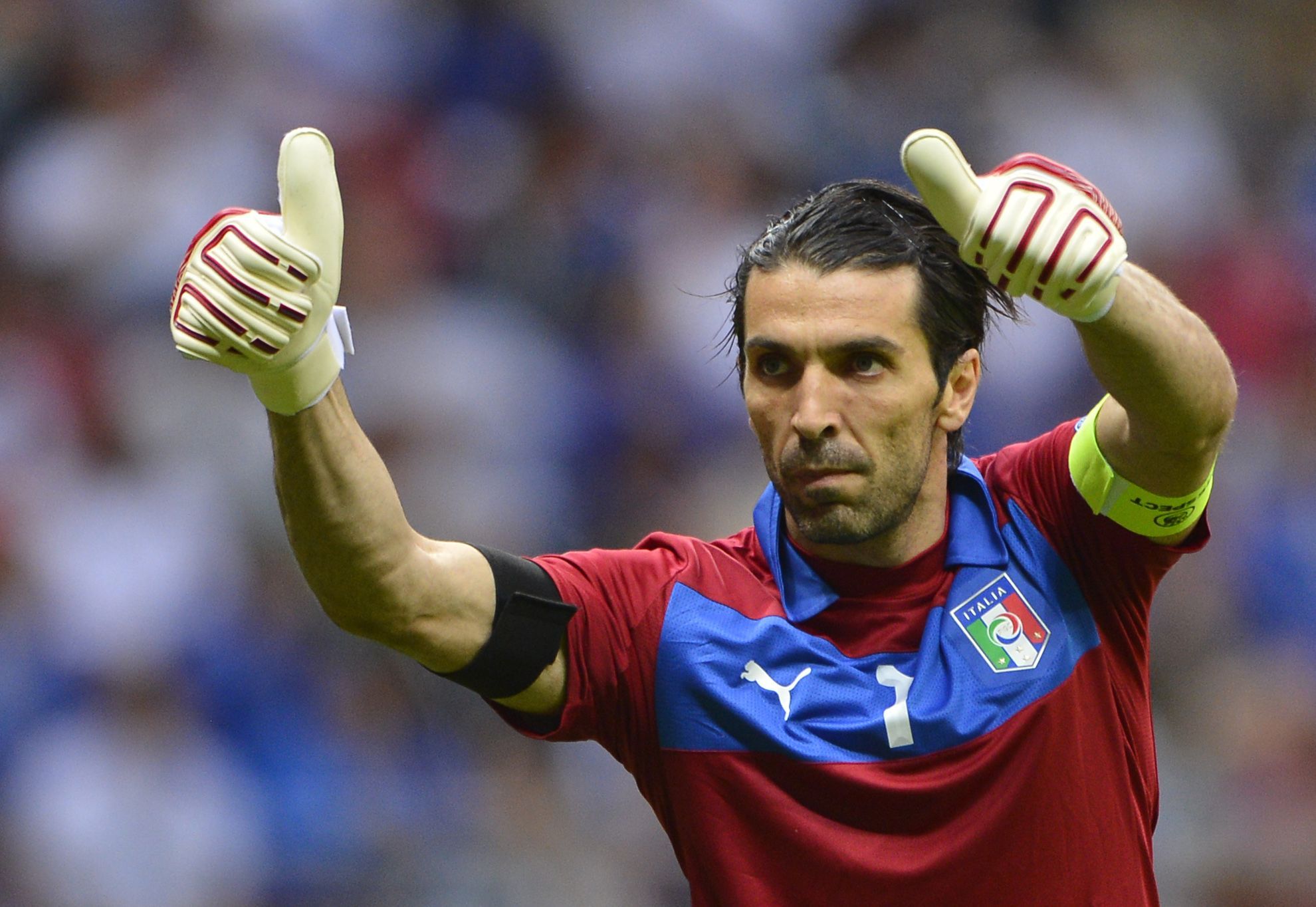 Italian goalkeeper Gianluigi Buffon gest