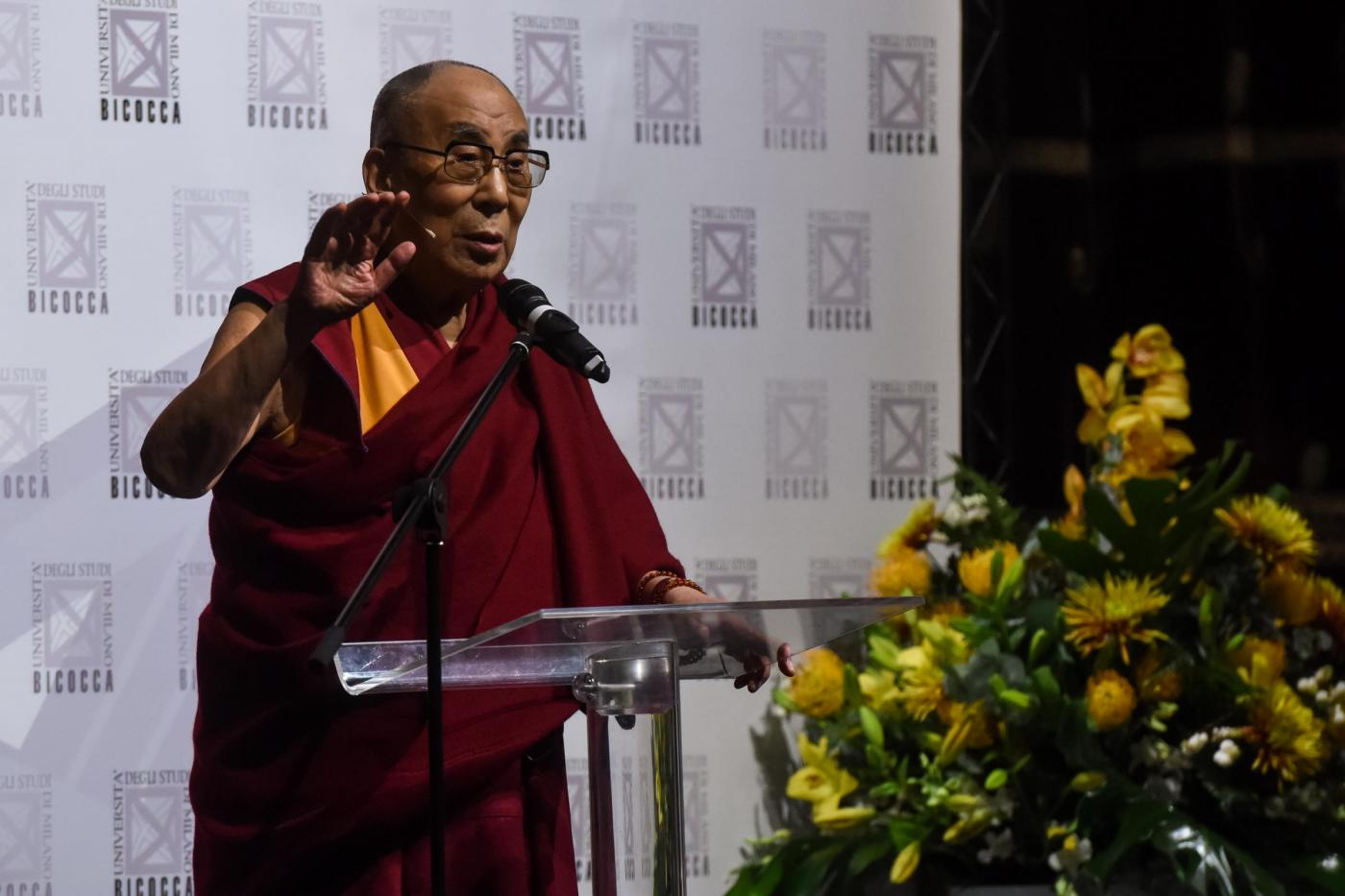 Incontro del Dalai Lama con gli studenti della Bicocca a Milano