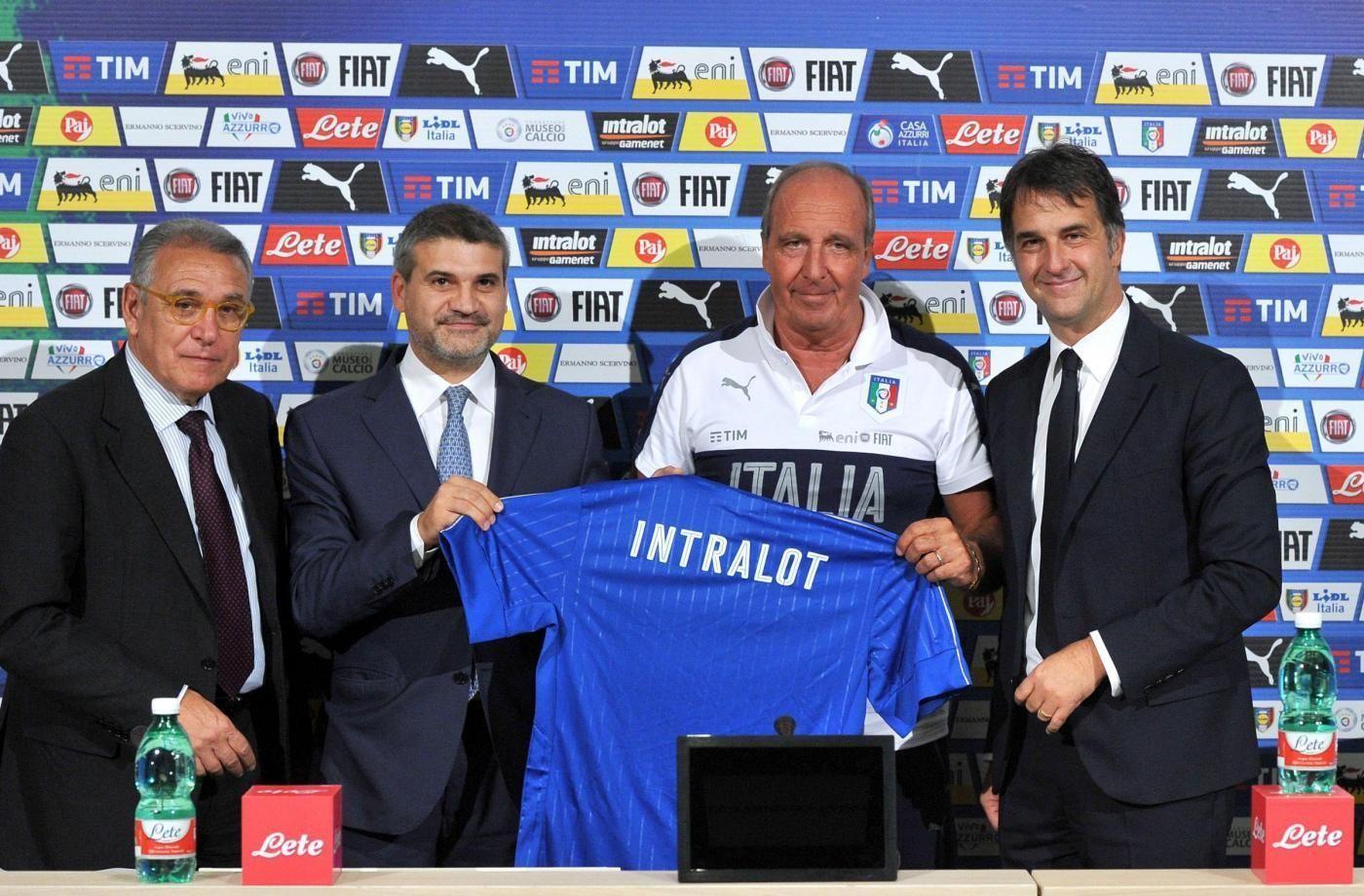Coverciano, raduno Nazionale italiana calcio Presentazione nuovo sponsor Intralot