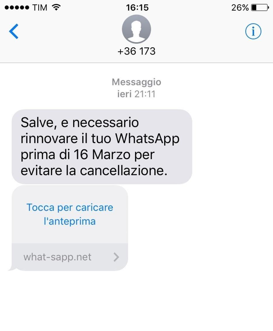 Truffa WhatsApp: i beffardi SMS che invitano al rinnovo