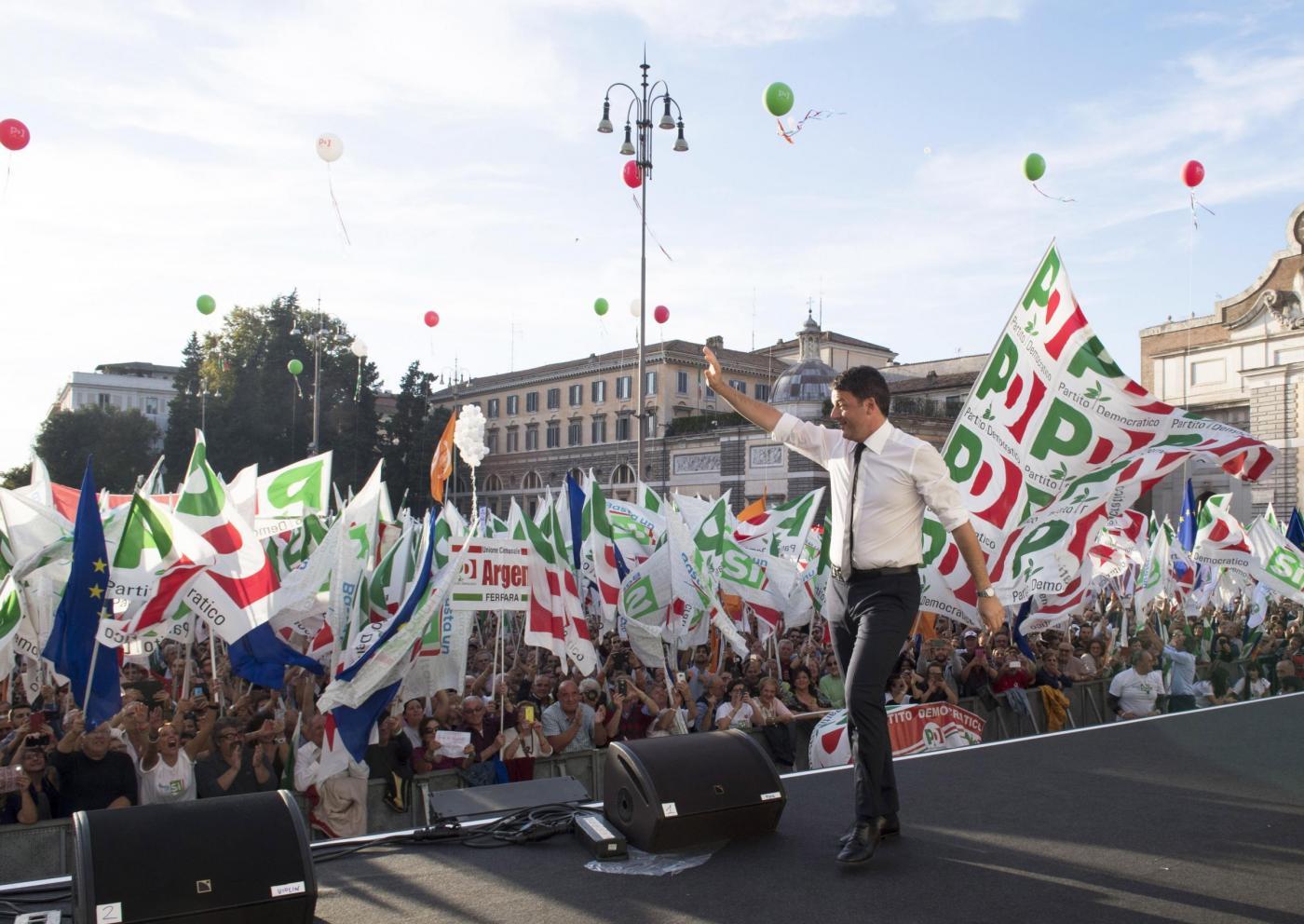Roma, Matteo Renzi in piazza del Popolo