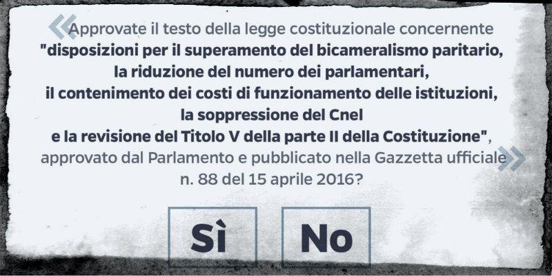 Referendum costituzionale, sei da SI o sei da NO?